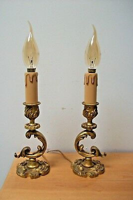 Pair of Vintage French Bronze Chamber Stick lamp candle