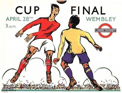 1934 FA Cup Final Man City Portsmouth Transport Poster A3 / A2 Print