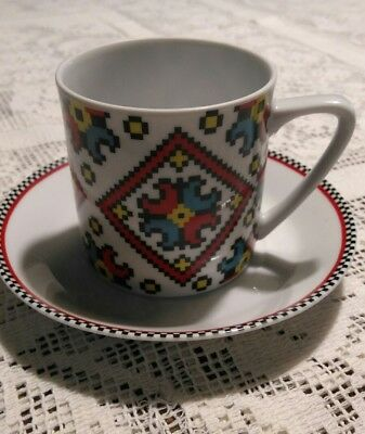 Vintage Ukrainian Art By Marusha Cup And Saucer