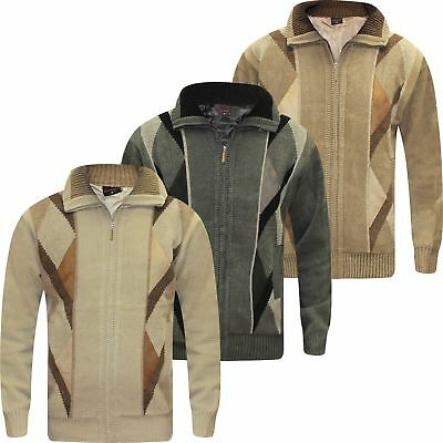 New Mens Knitted Full Zip Lined Chenille Classic Cardigan Jumper Sweater M  XXL