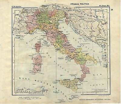 Carta geografica antica ITALIA POLITICA ante Grande GUERRA 1914 Old Antique map