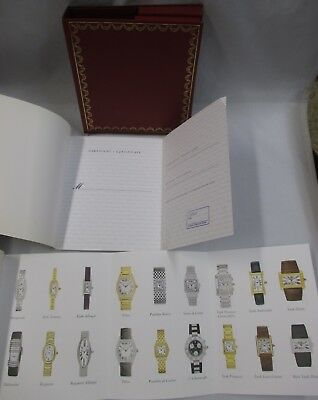 Cartier Instructions & Open Guarantee Certificate w/Stamp Books Set & Red Folder