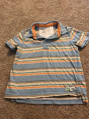 Genuine  Kids Blue Orange Striped Polo Top 2t