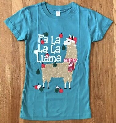Girls Darling Christmas Green Teal Fa La La La Llama Tee Shirt Top Size M 10 NWT