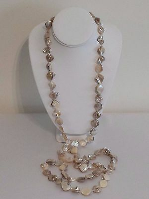 """Mother of Pearl Shell Nugget Necklace Made In Israel 59""""L 6.1 Ounces/172.9 Gram"""