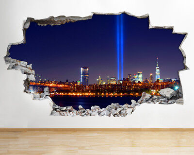 Wall Stickers City Night Lights Buildings Smashed Decal 3D Art Vinyl Room AA506
