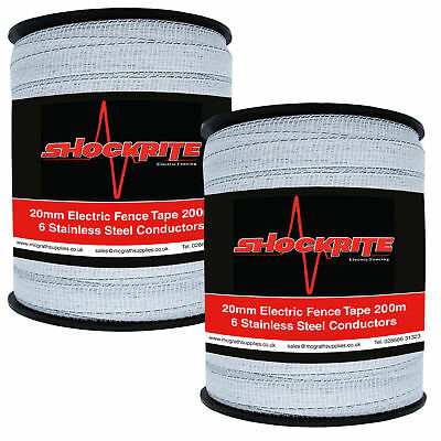 Electric Fence Fencing ShockRite 2 x 200m x 20mm White Tape Paddock Horse
