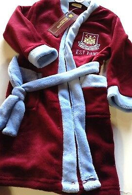 New Boys Official West Ham United Dressing Gown Robe Sizes 3 4