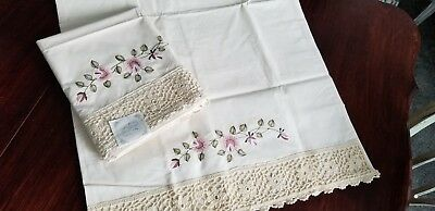 PAIR VINTAGE COTTON King PILLOW CASES WITH EMBROIDERY &  CROCHET LACE TRIM