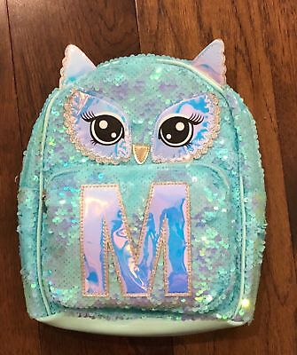 "NWT JUSTICE Girls Owl Flip Sequin Initial ""M' Mini Backpack-Gorgeous Backpack"