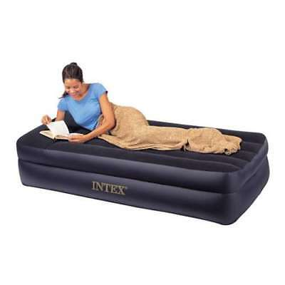 Intex Twin Pillow Rest Raised Inflatable Airbed Mattress with Pump (Open Box)