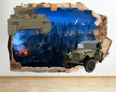 Wall Stickers Boys Army Tank Jeep Warzone Smashed Decal 3D Art Vinyl Room BA079