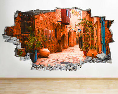 Wall Stickers Old City Street Rustic Cool Smashed Decal 3D Art Vinyl Room BA493