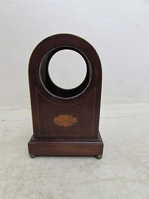 Edwardian Inlaid Dome Top Clock Case, Brass Bun Feet