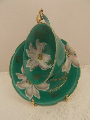 Occupied Japan Teal Green/White Floral Tea cup & Saucer Hand Painted Orion China