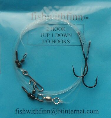 2 Hook Flapper Fishwithfinn Hand Made Ready To Use Rigs 5 rigs no.1 Hooks