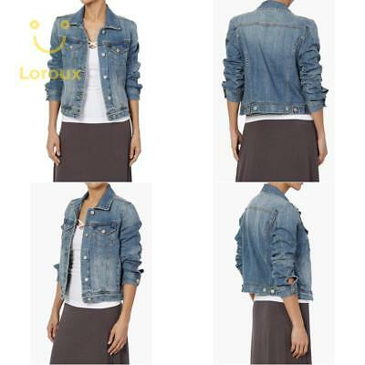 52945b63dc540 Themogan Women S Vintage Blue Stone Washed Denim Cropped Jean Jacket