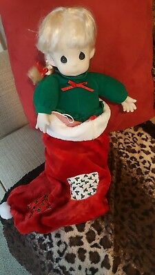 Precious Moments Doll Jingles Blonde Doll in Christmas Stocking
