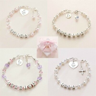 Sterling Silver Name Bracelets with Engraving. High Quality Bracelets for Girls.