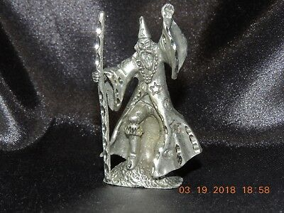 """1987 Cuter Pewter Wizard, Nicely Detailed With Diamond Cuts, Approx. 2 1/4"""" Tall"""
