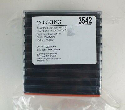 Corning 3542 Assay Plate 384 Well With Lid Low Volume Tissue Culture 10 Pack