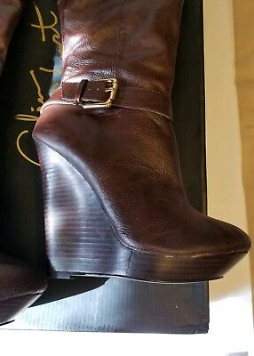 cd53596c88e2  BRAND NEW  Victoria Secret Colin Stuart over the knee boot brown wedge boot