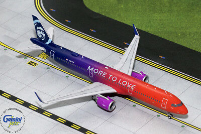 """Gemini Jets 1:200 Scale Alaska Airlines A321neo """"More to Love"""" G2ASA739"""