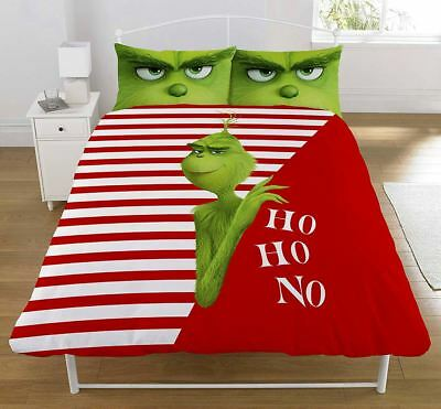 Grinch Movie 'Ho Ho No' DOUBLE Duvet Cover Bedding Set