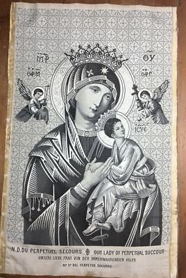 Antique Cloth of Jacquard, embroidered silk woven, Our Lady of Perpetual Succour