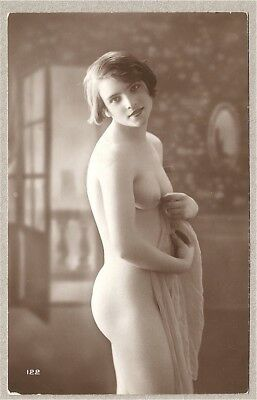 Nude French RPPC Real Photo Postcard Adorable Shy Risqué Jazz-Age Flapper 1920s