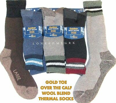 2 Mens Gold Toe Signature Gold Wool Blend Over The Calf Outdoor Thermal Socks