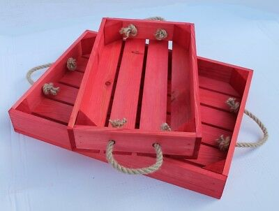 Red Wooden Tray With Rope Handles Apple Crate Style 2 Sizes