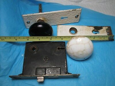 Antique Porcelain WHITE & BLACK Door Knobs & Back Plates  Latch Hardware vintage