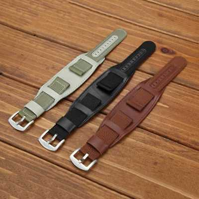 Mens Military Army Watch Band Bund Strap Cuff Bangle 18/20/22/24mm Nylon&Leather