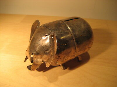 Vintage Charming Silver Plated Elephant (Republican?) Bank, Modernist LUNT made