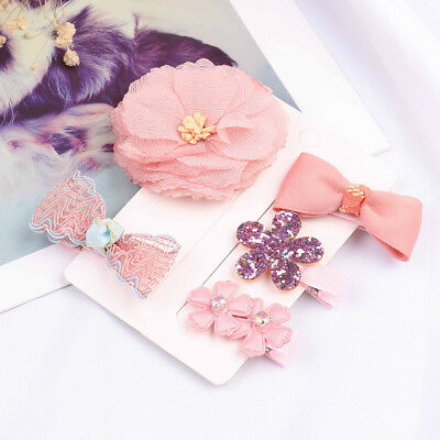 1set cute hairpin baby girl hair clip bow flower barrette kid infant accessorieG