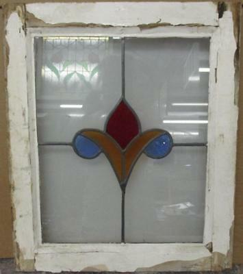 """OLD ENGLISH LEADED STAINED GLASS WINDOW Pretty Abstract Floral 18"""" x 21.25"""""""