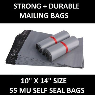 "50 GREY MAILING BAGS - 10"" x 14"" STRONG POLY POSTAGE POSTAL QUALITY SELF SEAL"