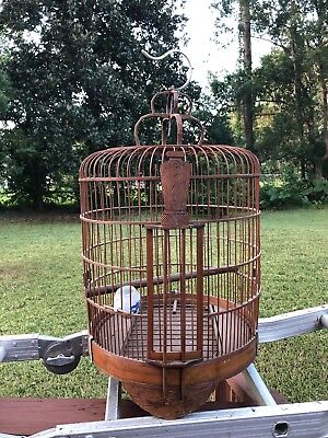 large chinese antique wood and banboo bird cage Rare