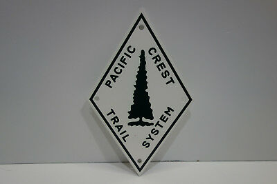 Pacific Crest Trail System Diamond Shaped Baked Enamel Sign. Mint Nos. Heavy.
