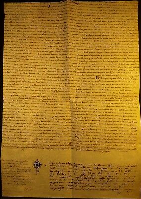 1384 - VERY OLD FRENCH MANUSCRIPT on LARGE PARCHMENT - HANDSCHRIFT auf PERGAMENT