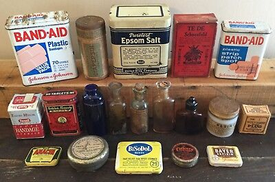 Old Vtg Antique Medical Apothacary Bottle Tin Cuticura Diapepsin Box Lot Of 19