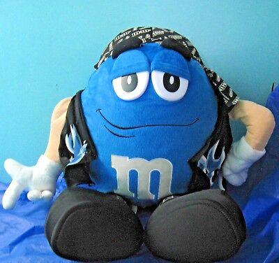 "Biker Blue M&M 28"" Plush Toy Large Plushie Stuffed"