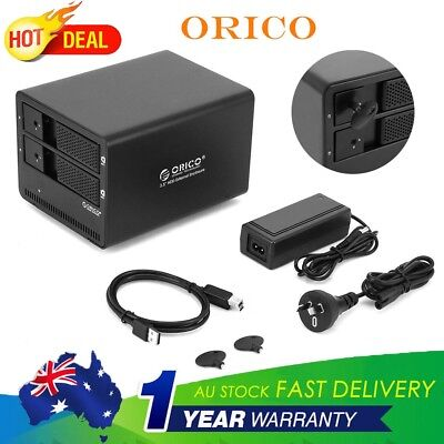 "ORICO 9558U3 3.5"" External Hard Drive Enclosure Dual Bay Aluminium Docking HDD"