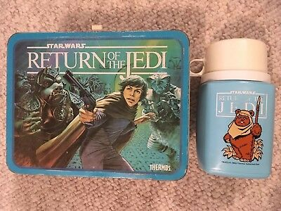 Vintage Metal Star Wars Return Of The Jedi Lunchbox & BLUE Thermos!! FAST SHIP!