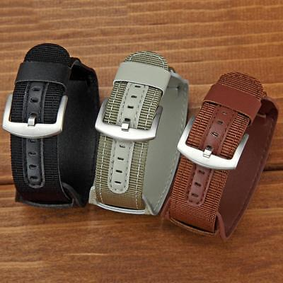 18/20/22/24mm Nylon Leather Mens Military Army Watch Band Bund Wrist Strap Cuff