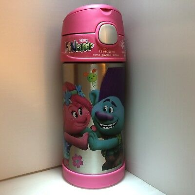Brand New Thermos FUNtainer Trolls 12oz Water Bottle Poppy & Branch FREE SHIP!!!