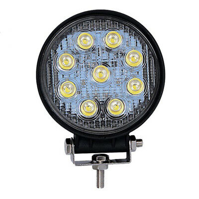 4X(27W LED Work Light Round Truck Lamp Camping Boat 12V 24V 6000K FLOOD Lam Q5E7