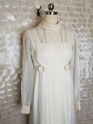 VTG Union Made Victorian Ivory Lace Sheer Embroidered Wedding Dress /BA