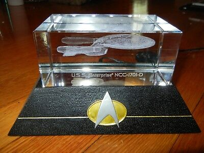 STAR TREK USS Enterprise Laser Etched GLASS Paper weight Hamilton Collection